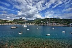 Spanien Majorca Port de Soller Royaltyfria Bilder