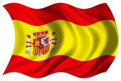 Spanien-Markierungsfahne getrennt Lizenzfreies Stockfoto