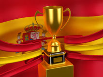 Spanien-Markierungsfahne mit Goldcup Lizenzfreie Stockbilder