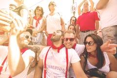 Spanien Navarra Pamplona 10 Juli 2015 S Firmino fiesta per gruppen av Arkivbild