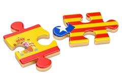 Spanien och Catalonia förbryllar, utgången och självständighetbegreppet beträffande 3d Royaltyfri Foto