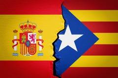 Spanien och Catalonia självständighetbegrepp framförande 3d Arkivfoto