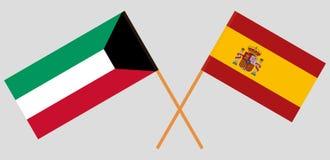 Spanien och Kuwait De spanska och kuwaiti flaggorna Officiell proportion Korrigera färger vektor vektor illustrationer
