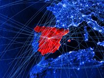 Spanien på blå digital översikt med nätverk Begrepp av det internationella loppet, kommunikationen och teknologi illustration 3d  vektor illustrationer