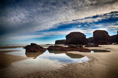 Spanien Playa de las catedrales Royaltyfri Fotografi