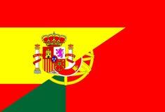 Spanien Portugal flagga Arkivfoton