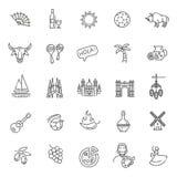Spanien skisserade symbolsuppsättningen Arkivfoton