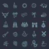 Spanien skisserade symbolsuppsättningen Royaltyfri Foto