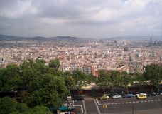 Spanien stad stads- liggande Älskvärd bakgrund Stad från en sikt för öga för fågel` s royaltyfri foto