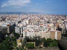 Spanien stad stads- liggande Älskvärd bakgrund Stad från en sikt för öga för fågel` s royaltyfri fotografi