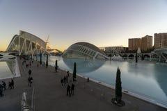 Spanien staden av konster och vetenskaper av den Valencia solnedgången royaltyfri foto