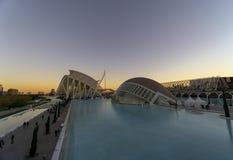 Spanien staden av konster och vetenskaper av den Valencia solnedgången arkivbild