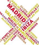 Spanien-Stadt benennt Collage Stockfotografie
