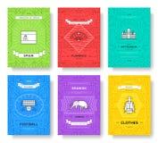 Spanien tunn linje broschyrkortuppsättning Landsmall av flyear, tidskrifter, affischer, bokomslag, baner Loppöversikt Royaltyfria Bilder