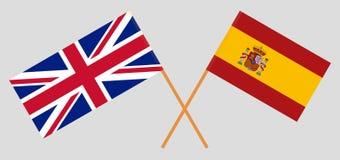 Spanien und Großbritannien Die spanischen und BRITISCHEN Flaggen Offizieller Anteil Korrekte Farben Vektor vektor abbildung