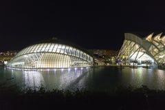 Spanien Valencia The City av konster och vetenskaper av Valencia vid natt arkivbilder