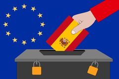 Spanien-Wahlurne für die Europawahlen lizenzfreie stockfotos