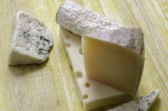 Spanisch Manchego-Käse, Ziege, Gruyere, Gorgonzola lizenzfreies stockbild