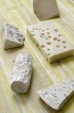 Spanisch Manchego-Käse, Ziege, Gruyere, Gorgonzola lizenzfreie stockbilder