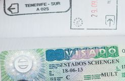 Spanisch-Schengen-Visum im Pass lizenzfreies stockfoto