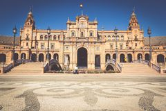 Spanisch Square Plaza de Espana in Sevilla, Spanien lizenzfreies stockbild