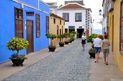 Spanische alte Stadt auf der Teneriffa-Insel Stockfotografie