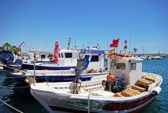 Spanische Fischerboote, Garrucha stockbilder