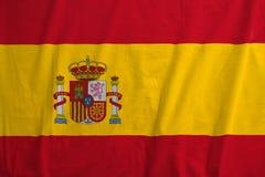 Spanische Flagge, die im Wind durchbrennt Lizenzfreies Stockbild