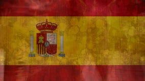 spanische Flagge mit den Leuten, die in die Straße gehen lizenzfreie abbildung