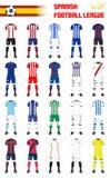 Spanische Fußball-Liga-generische Ausrüstungen Stockbilder