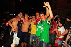 Spanische Gebläse, die Weltmeister feiern Stockfotografie