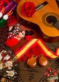 Spanische Gitarre Cassic mit Flamencoelementen stockfotos