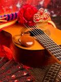 Spanische Gitarre Cassic mit Flamencoelementen lizenzfreie stockfotos