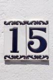 Spanische Hausnummer 15 Lizenzfreies Stockfoto