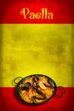 Spanische Markierungsfahne mit Paella Stockbilder