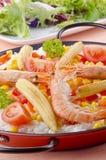 Spanische Paella mit organischem Gemüse Lizenzfreies Stockfoto