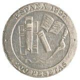 200-spanische Peseta-Münze Stockbilder