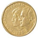 500 spanische Peseta-Münze Stockfotos