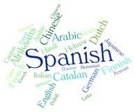 Spanische Sprache bedeutet Wordcloud-Übersetzer And Text Lizenzfreies Stockbild
