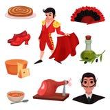 Spanische traditionelle Gegenstände und Berühmtheiten Vektorabbildung auf wei?em Hintergrund lizenzfreie abbildung