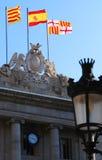 Spanische und katalanische Markierungsfahnen Stockbilder