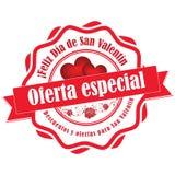 Spanischer Aufkleber/Aufkleber des Valentinsgruß ` s Tagesangebots Stockfotografie
