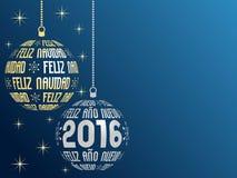 Spanischer frohe Weihnacht- und guten Rutsch ins Neue Jahr-Hintergrund 2016 lizenzfreie abbildung