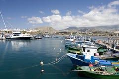 Spanischer Hafen Las Galletas, Tenerife Stockfotografie