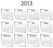 Spanischer Kalender für 2013 mit Schatten Lizenzfreies Stockfoto