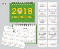 Spanischer Kinderkalender für Wand- oder Schreibtischjahr 2018, 2019 Stockfotos