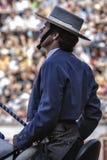 Spanischer Stierkämpfer zu Pferd Pablo Hermoso de Mendoza-Stierkampf zu Pferd, der aufmerksam am Stier ooking ist, um das Th zu be Stockbilder