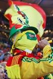 Spanischer Verfechter mit vuvuzela Lizenzfreies Stockfoto