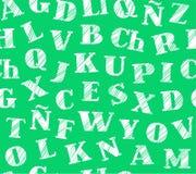 Spanisches Alphabet, nahtloses Muster, Bleistift schattierend, Grün, Vektor Lizenzfreies Stockbild