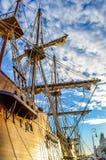 Spanisches altes Schiff in Barcelona Stockbild